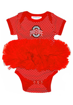 Ohio State Buckeyes Baby Red Pin Dot Tutu Creeper