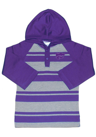 K-State Wildcats Toddler Purple Rugby Stripe Hooded Sweatshirt