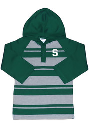 Michigan State Spartans Toddler Green Rugby Stripe Long Sleeve Hooded Sweatshirt