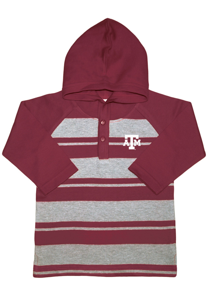 Texas A&M Aggies Toddler Maroon Rugby Stripe Long Sleeve Hooded Sweatshirt - Image 1
