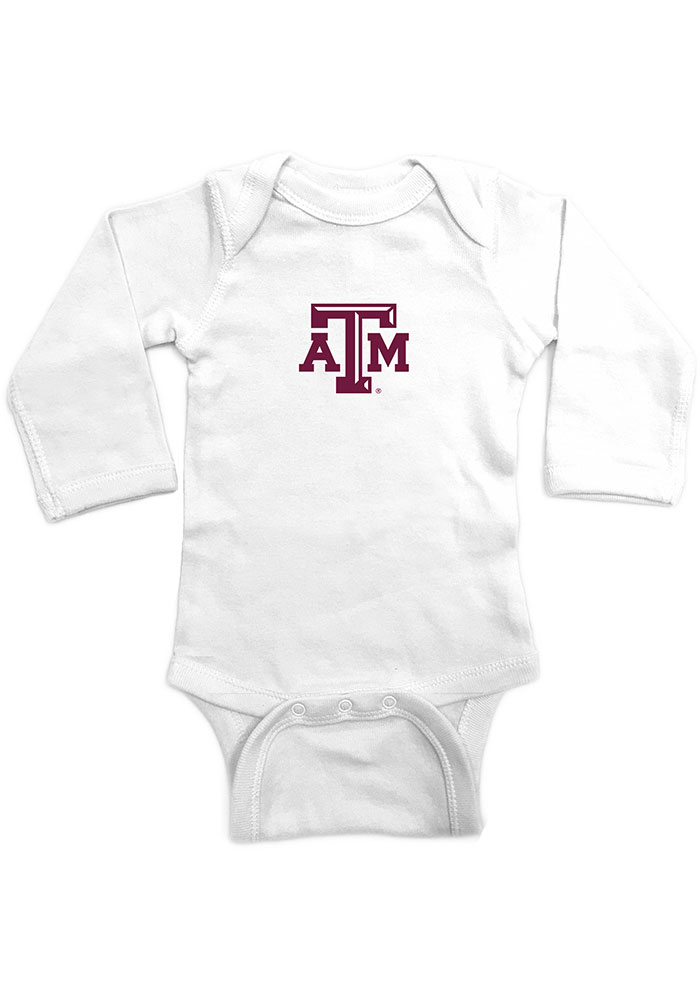 Texas A&M Aggies Baby White Embroidered Logo Long Sleeve One Piece - Image 1