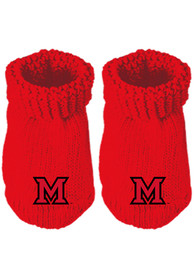 Miami RedHawks Baby Knit Bootie Boxed Set - Red