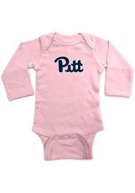 Pitt Panthers Baby Pink Lap Shoulder LS One Piece