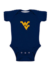 West Virginia Mountaineers Baby Navy Blue Lap Shoulder One Piece