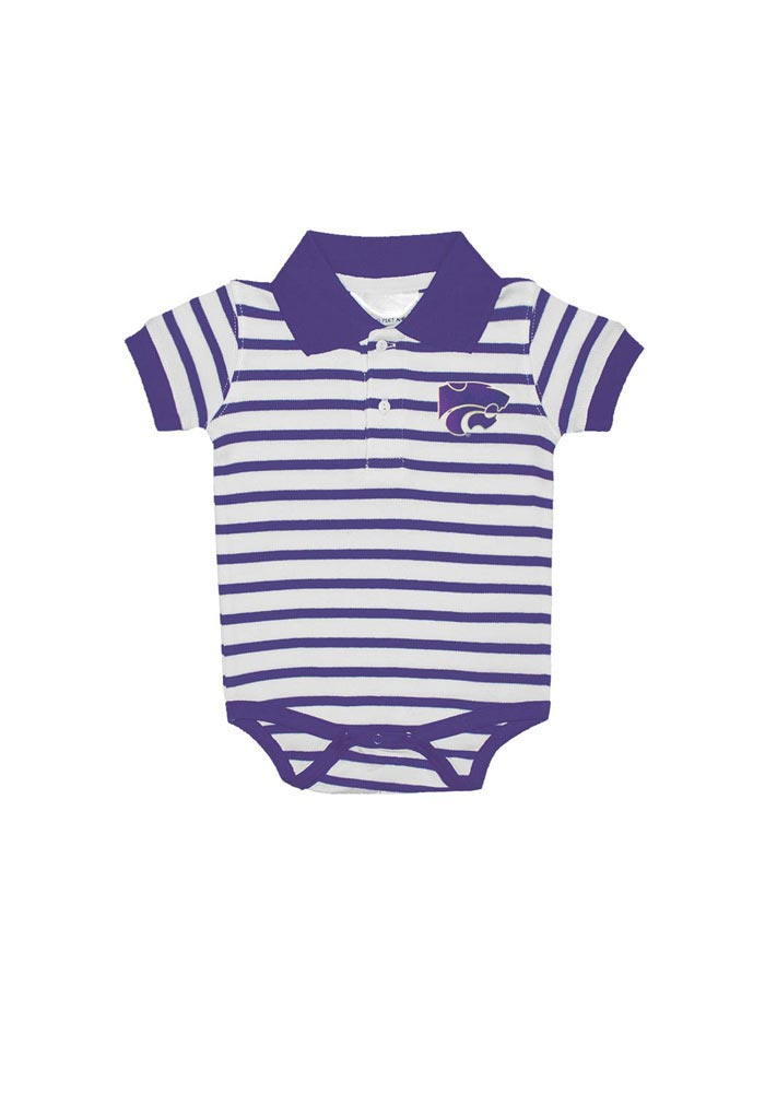 K-State Wildcats Baby Purple Stripe Short Sleeve Polo One Piece - Image 1