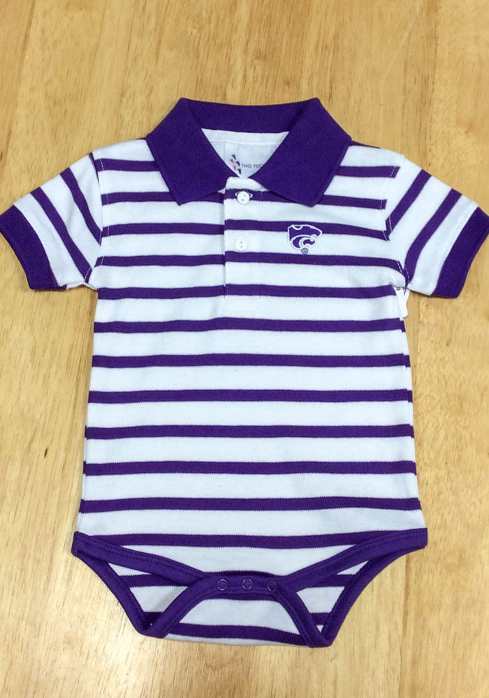 K-State Wildcats Baby Purple Stripe Short Sleeve Polo One Piece - Image 2