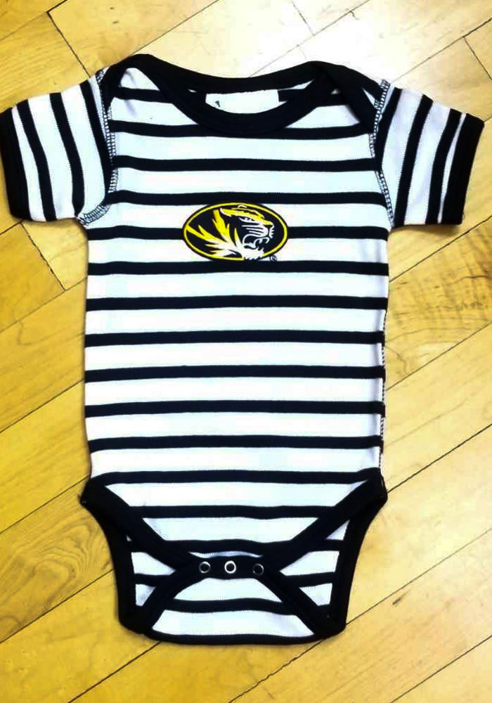 Missouri Tigers Baby Black Stripe Short Sleeve One Piece - Image 2