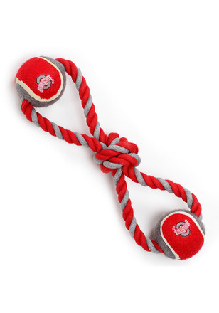 Ohio State Buckeyes Rope Tug With Two Balls Pet Toy