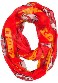 Kansas City Chiefs Womens Sheer Infinity Scarf - Red