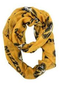 Missouri Tigers Womens Sheer Infinity Scarf - Gold