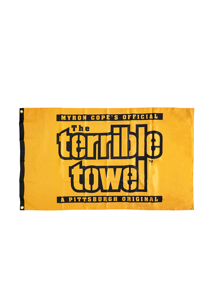 Pittsburgh Steelers Terrible Towel Gold Silk Screen Grommet Flag - Image 1