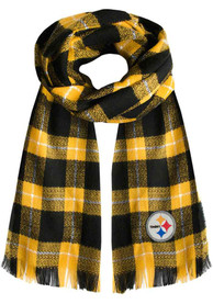 Pittsburgh Steelers Womens Plaid Scarf - Yellow