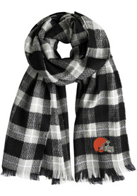 Cleveland Browns Womens Plaid Scarf - Grey