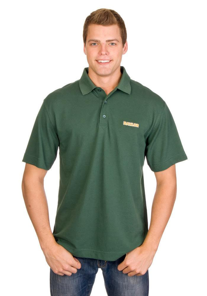 Cutter and Buck Baylor Bears Mens Green DryTec Championship Short Sleeve Polo - Image 1