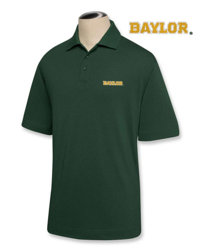 Cutter and Buck Baylor Bears Mens Green DryTec Championship Short Sleeve Polo - Image 2