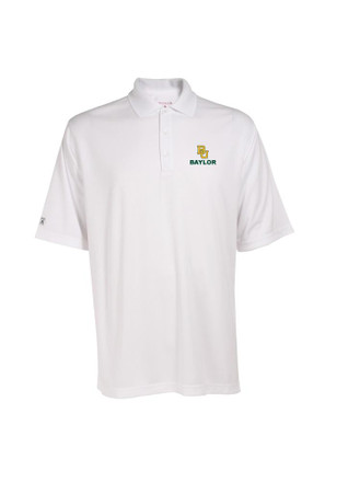 Antigua Baylor Mens White Exceed Short Sleeve Polo Shirt