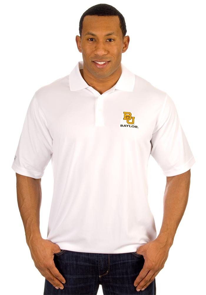 Antigua Baylor Bears Mens White Exceed Short Sleeve Polo - Image 3