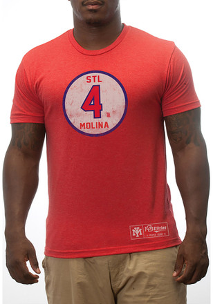 Yadier Molina St Louis Cardinals Mens Red Circle Player Tee