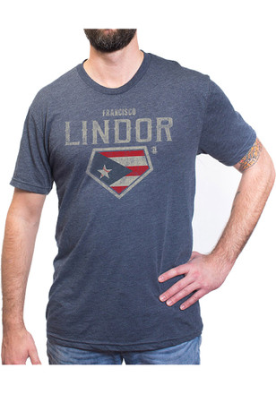 Francisco Lindor Cleveland Indians Mens Navy Blue Home Plate Player Tee