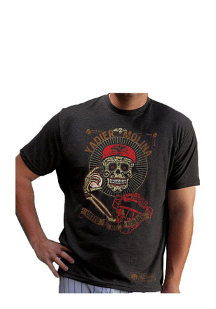 Yadier Molina St Louis Cardinals Mens Grey Day of the Dead Fashion Player Tee