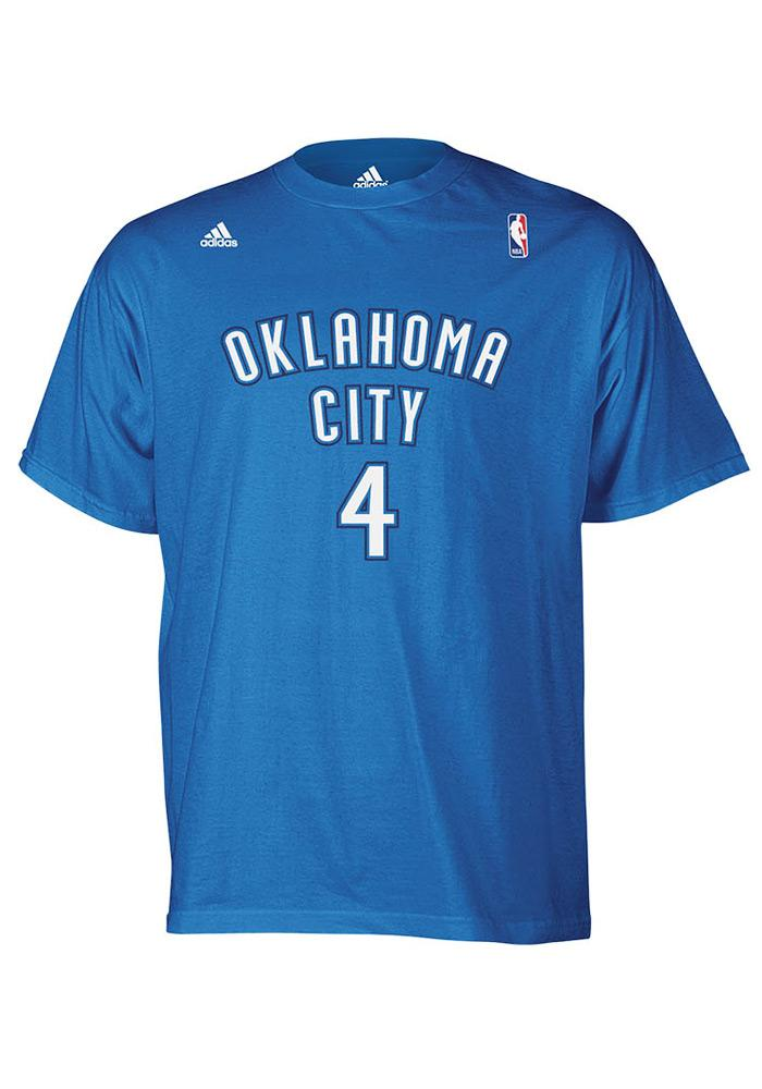 Nick Collison Oklahoma City Thunder Mens Blue Player Short Sleeve Player T Shirt - Image 2