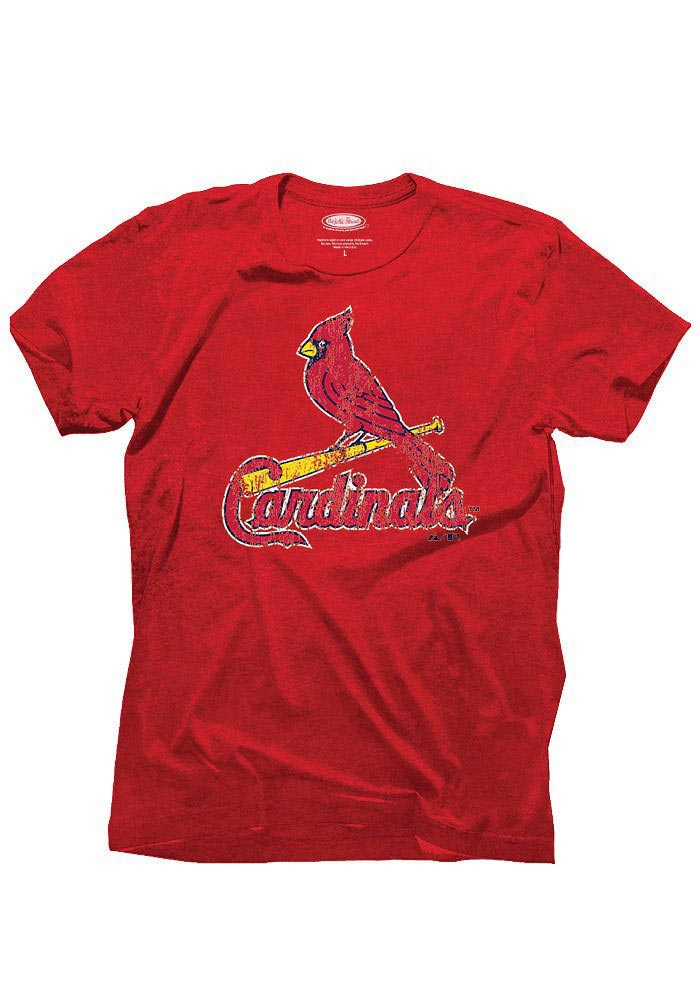 St Louis Cardinals Red Tri-Blend Logo Short Sleeve Fashion T Shirt - Image 1