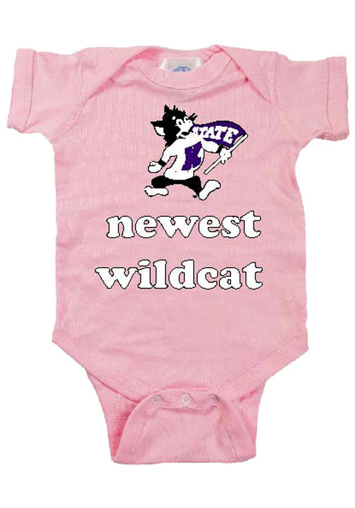 K-State Wildcats Baby Pink Newest Short Sleeve Creeper - Image 1