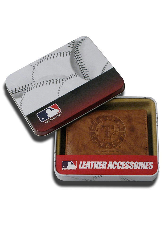 Texas Rangers Leather Mens Trifold Wallet - Image 1