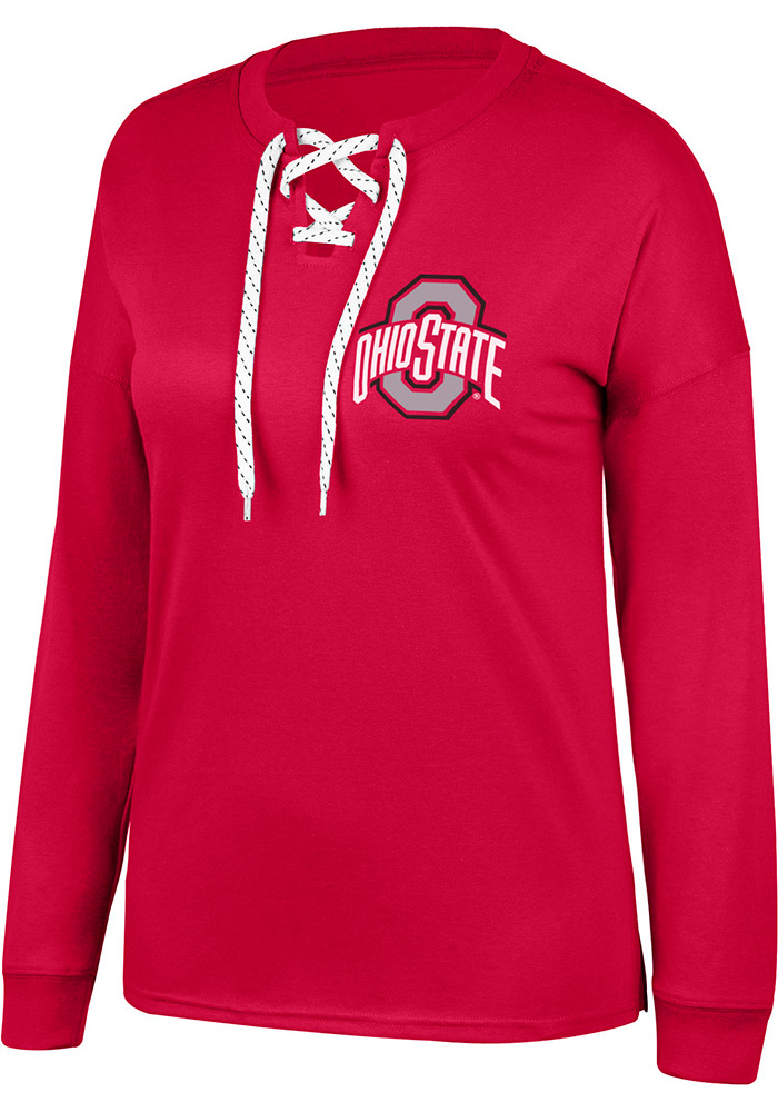 Top of the World Ohio State Buckeyes Womens Red Get-away LS Tee - Image 1