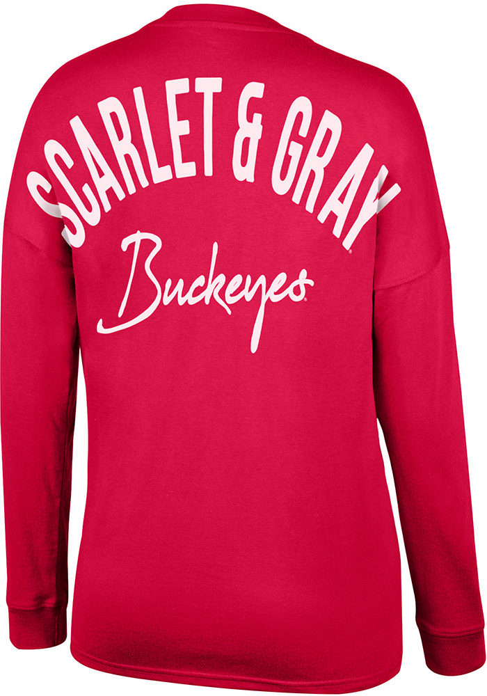Top of the World Ohio State Buckeyes Womens Red Get-away LS Tee - Image 2