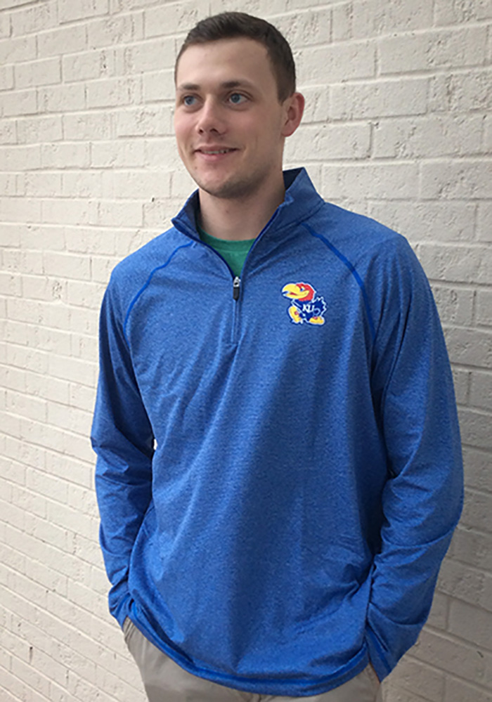Top of the World Kansas Jayhawks Mens Blue Lux Long Sleeve 1/4 Zip Pullover - Image 2