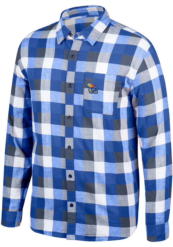 Top of the World Kansas Jayhawks Mens Blue Run Around Long Sleeve Dress Shirt - Image 1