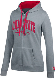 Ohio State Buckeyes Womens Top of the World Essential Full Zip Jacket - Grey