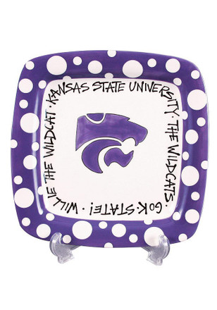 K-State Wildcats Polka Dot Square Plate