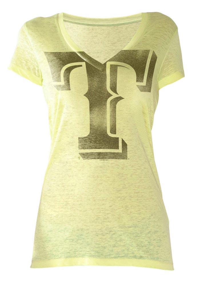 Texas Rangers Womens Yellow Neon Look At Me V-Neck T-Shirt - Image 1