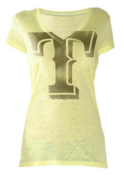 Texas Rangers Womens Yellow Neon Look At Me V-Neck