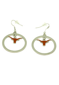 Texas Longhorns Womens Floating Logo Earrings - Silver