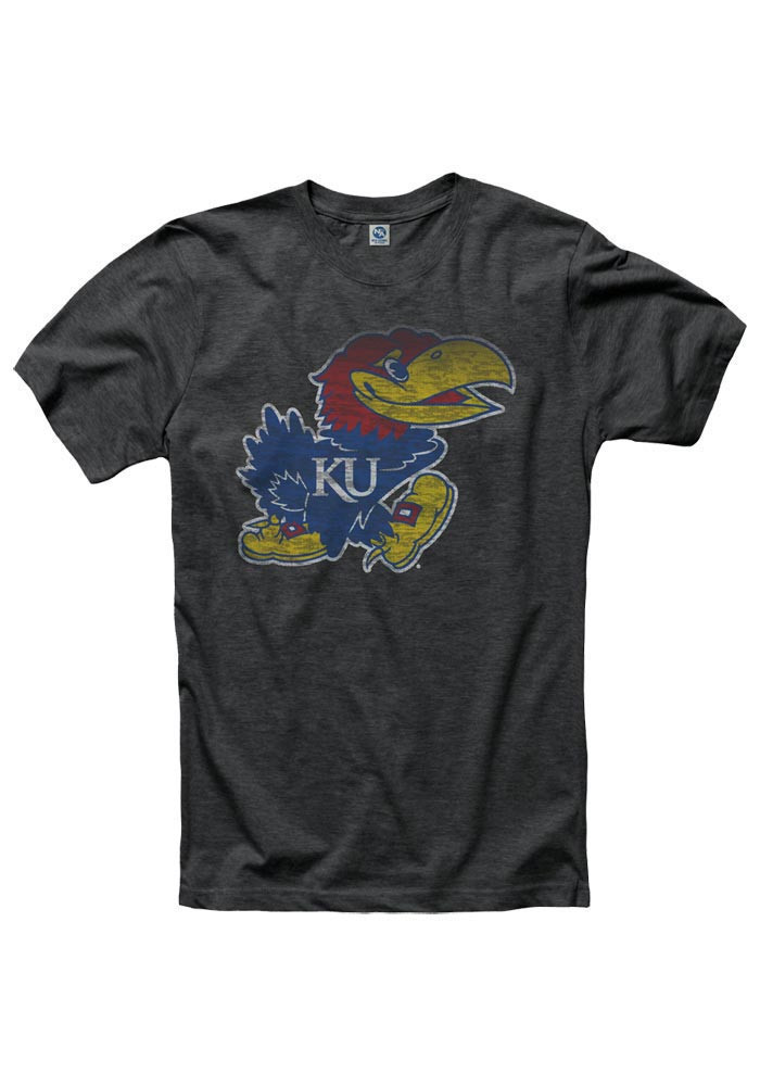 Kansas Jayhawks Mens Black Fade Out Short Sleeve T Shirt - Image 1