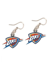 Oklahoma City Thunder Womens Silver Logo Dangle Earrings - Silver