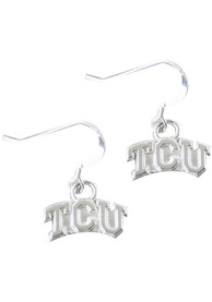 TCU Horned Frogs Womens Silver Dangle Earrings - Silver