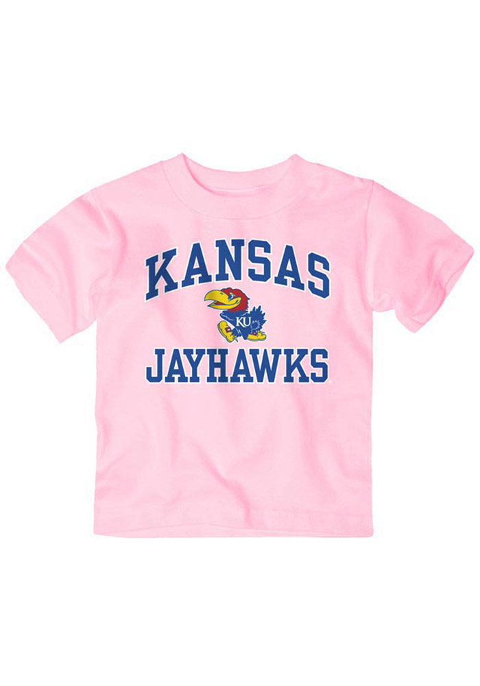 Kansas Jayhawks Toddler Girls Pink #1 Design Short Sleeve T-Shirt - Image 1