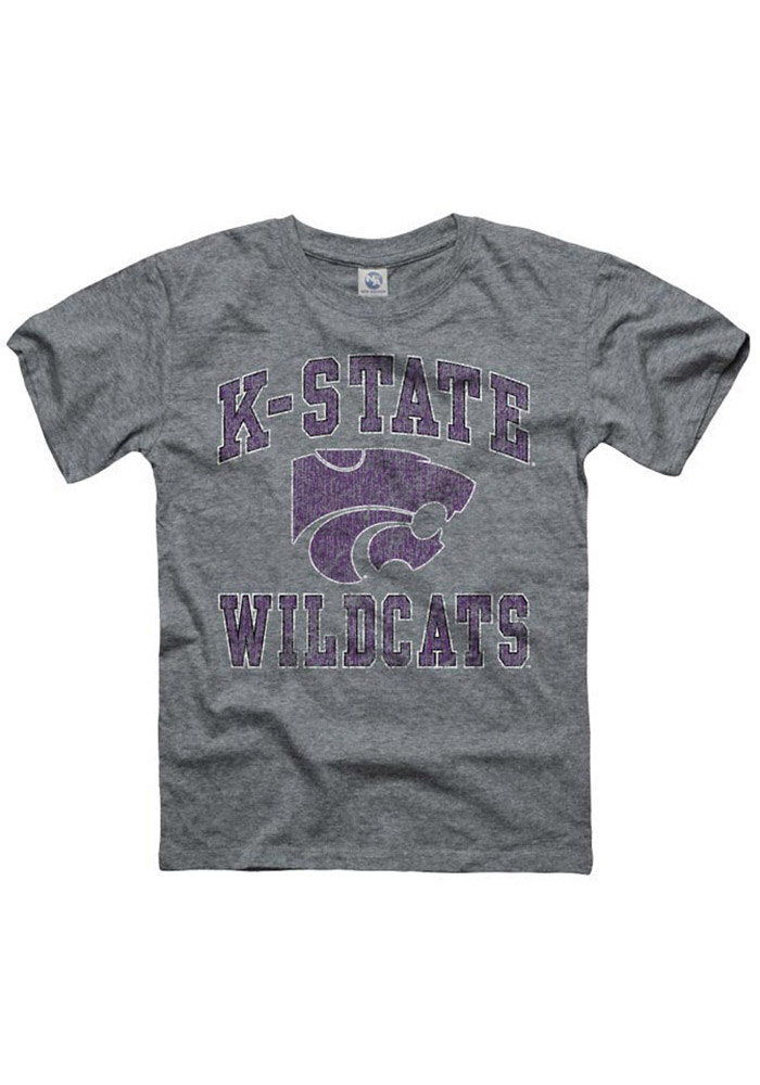 K-State Wildcats Youth Grey #1 Design Short Sleeve Fashion T-Shirt - Image 1