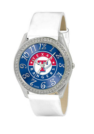 Texas Rangers Womens White Strap Glitz Watch - Blue