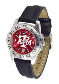 Texas A&M Aggies Womens Sport Leather Watch - Black