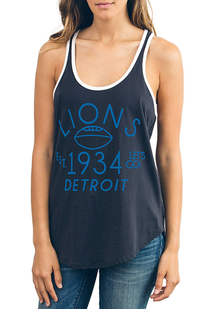 Junk Food Clothing Detroit Lions Womens Black Time Out Tank Top - Image 1