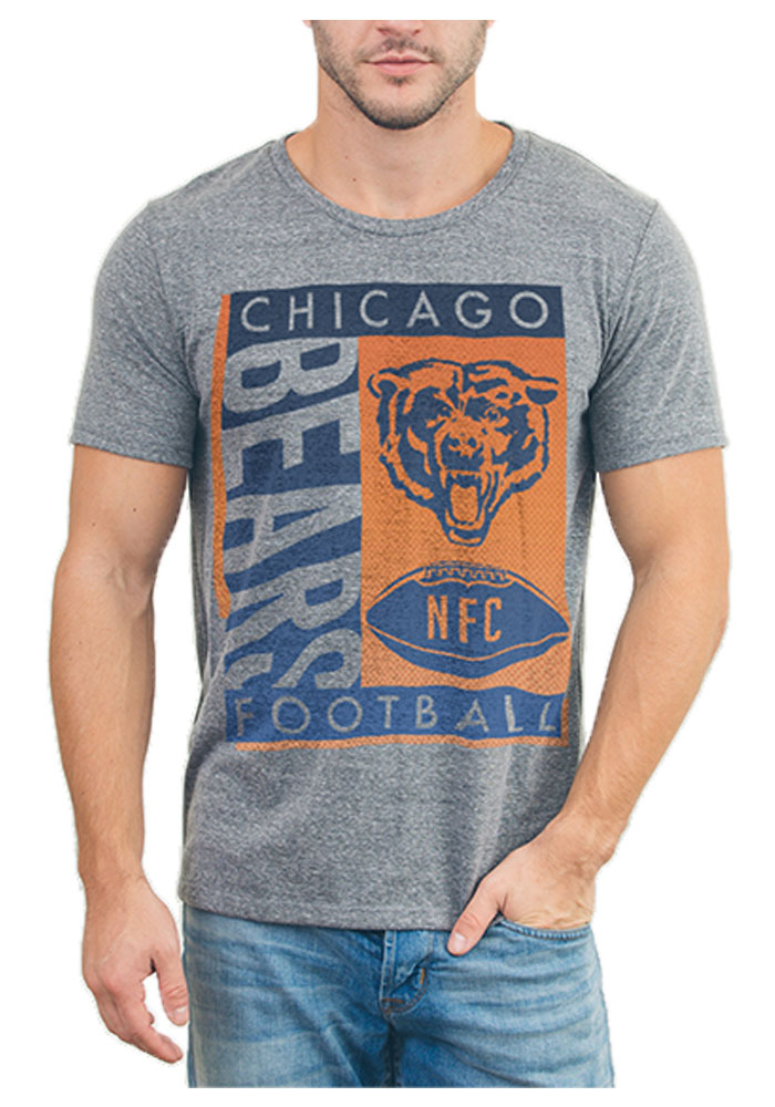 Junk Food Clothing Chicago Bears Grey Touchdown Tri-Blend Short Sleeve Fashion T Shirt - Image 1