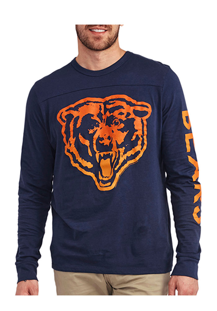 Junk Food Clothing Chicago Bears Blue Pregame Crew Long Sleeve Fashion T Shirt - Image 1