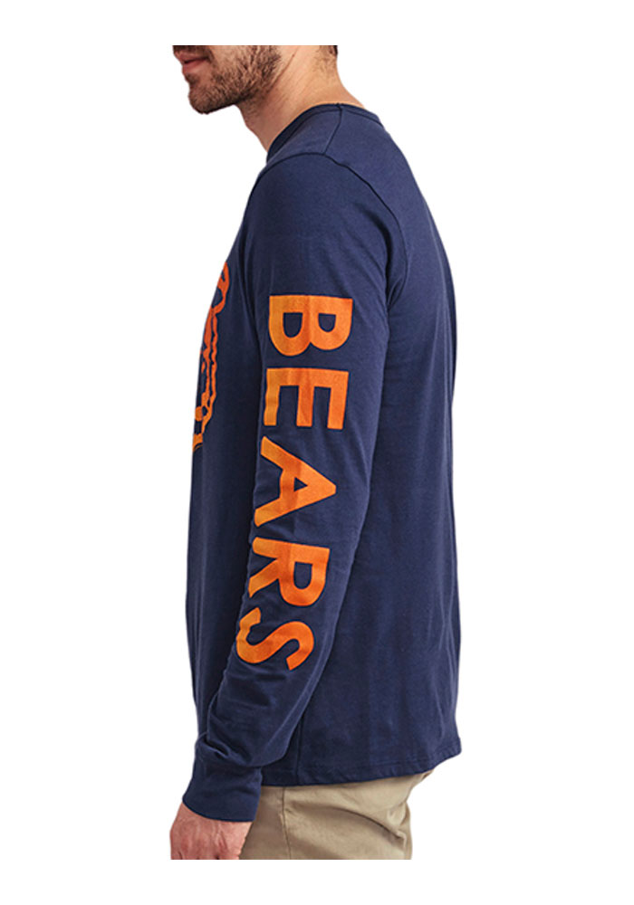 Junk Food Clothing Chicago Bears Blue Pregame Crew Long Sleeve Fashion T Shirt - Image 2