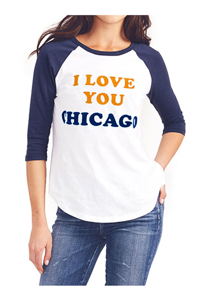 Junk Food Clothing Chicago Bears Womens White All-American Long Sleeve Crew T-Shirt - Image 1