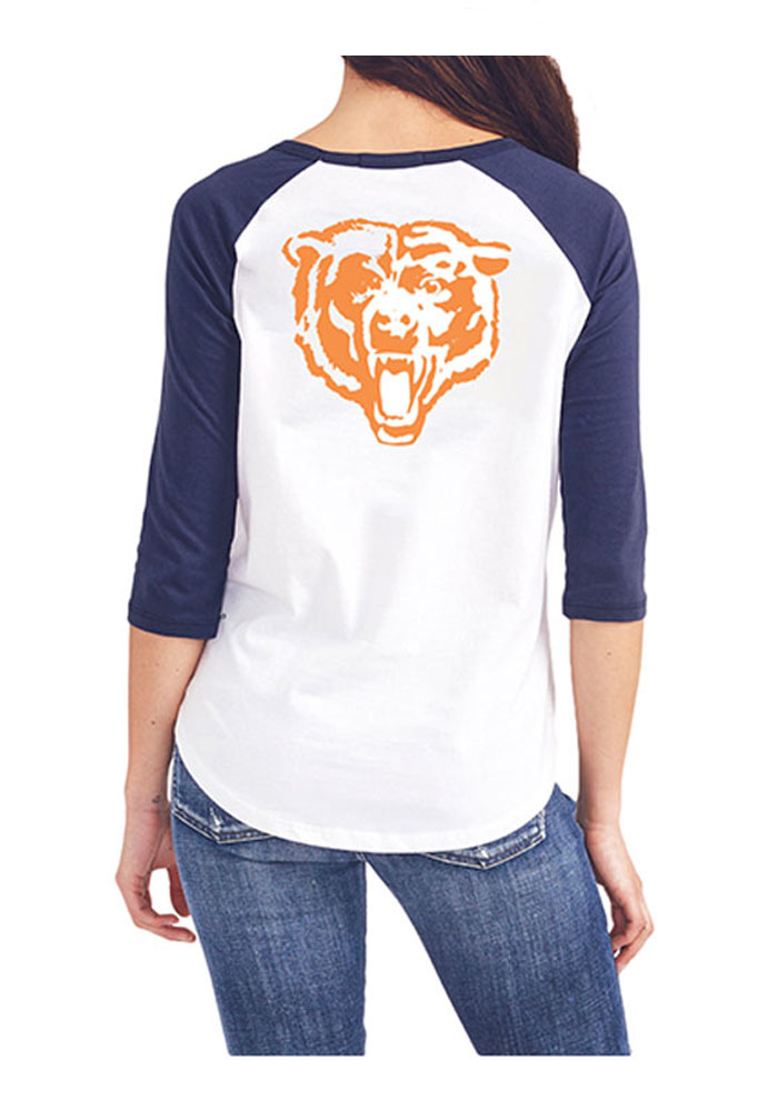 Junk Food Clothing Chicago Bears Womens White All-American Long Sleeve Crew T-Shirt - Image 2